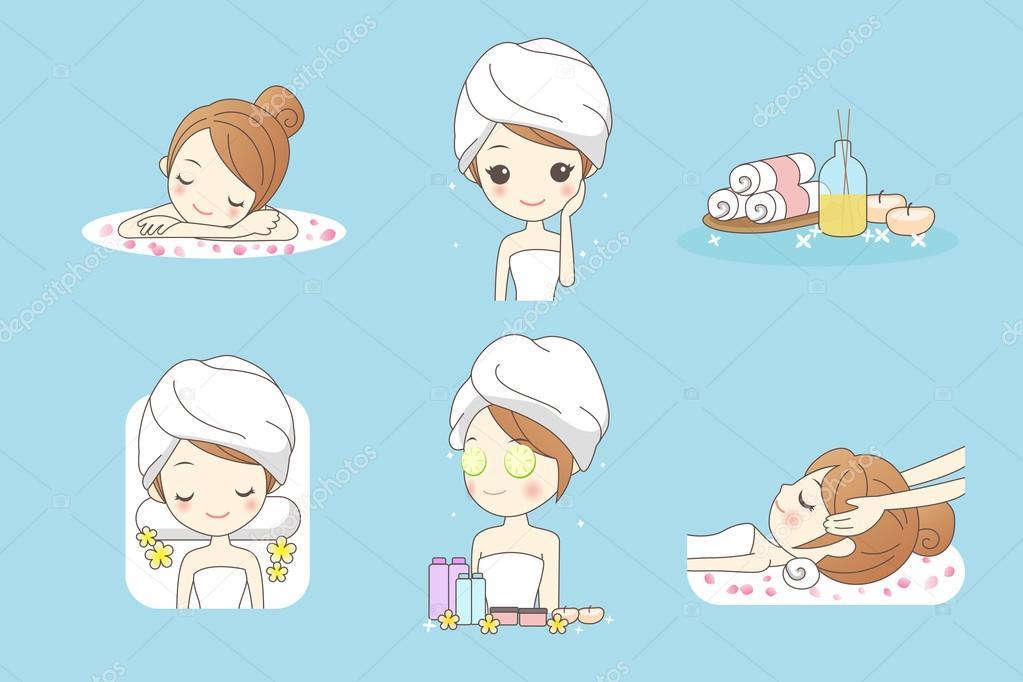 Jeune femme dessin anim profiter spa image vectorielle - Saloon dessin ...