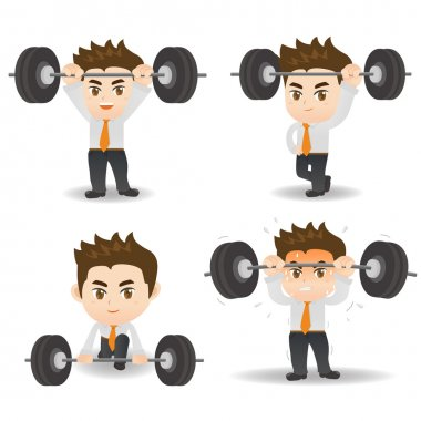 Business man weight lifting
