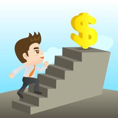 cartoon illustration Businessman reaching goal