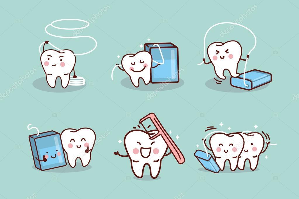 55ca03d8f dente de desenhos animados com fio dental — Vetores de Stock ...