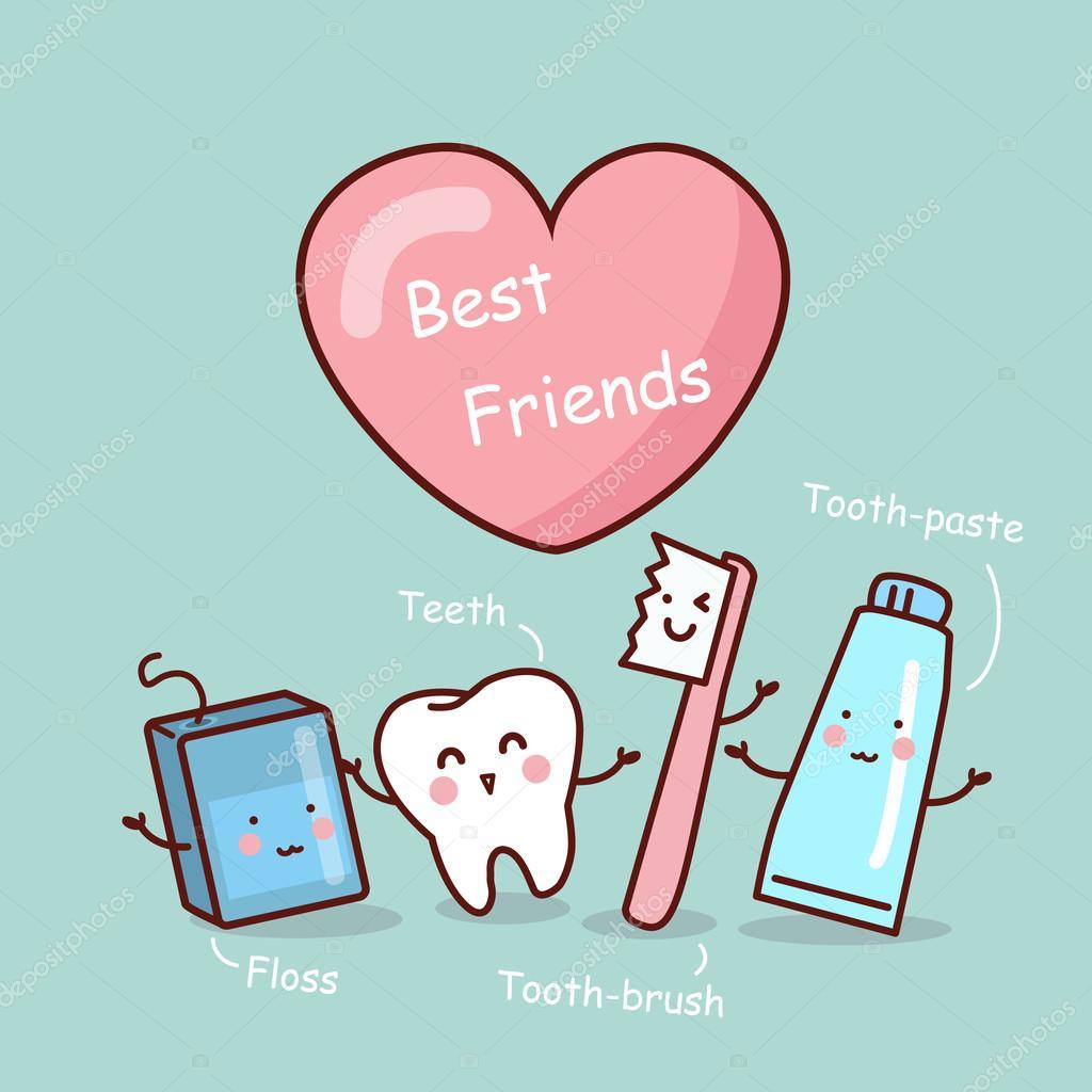 Happy Cartoon Tooth Friend Stock Vector C Etoileark 95616830
