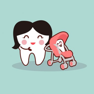 cartoon mother and baby tooth