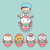 roztomilý kreslený zubař s zub