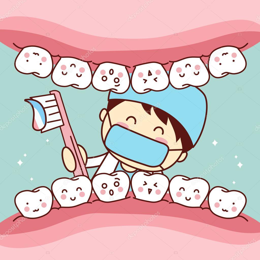 dente de escova de dentista bonito dos desenhos animados brushing your teeth clipart brushing teeth clip art picture