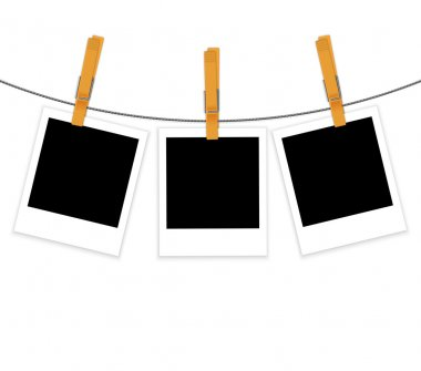 Photo frames on rope with clothespins vector