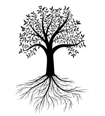 Vector tree with leaves and roots