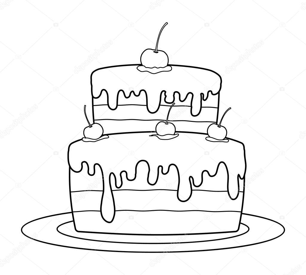 Pastel de cumpleaños contorneado para colorear libro — Vector de ...