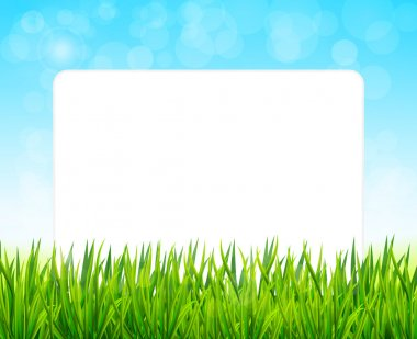 Paper sheet on background with green grass  and blue sky