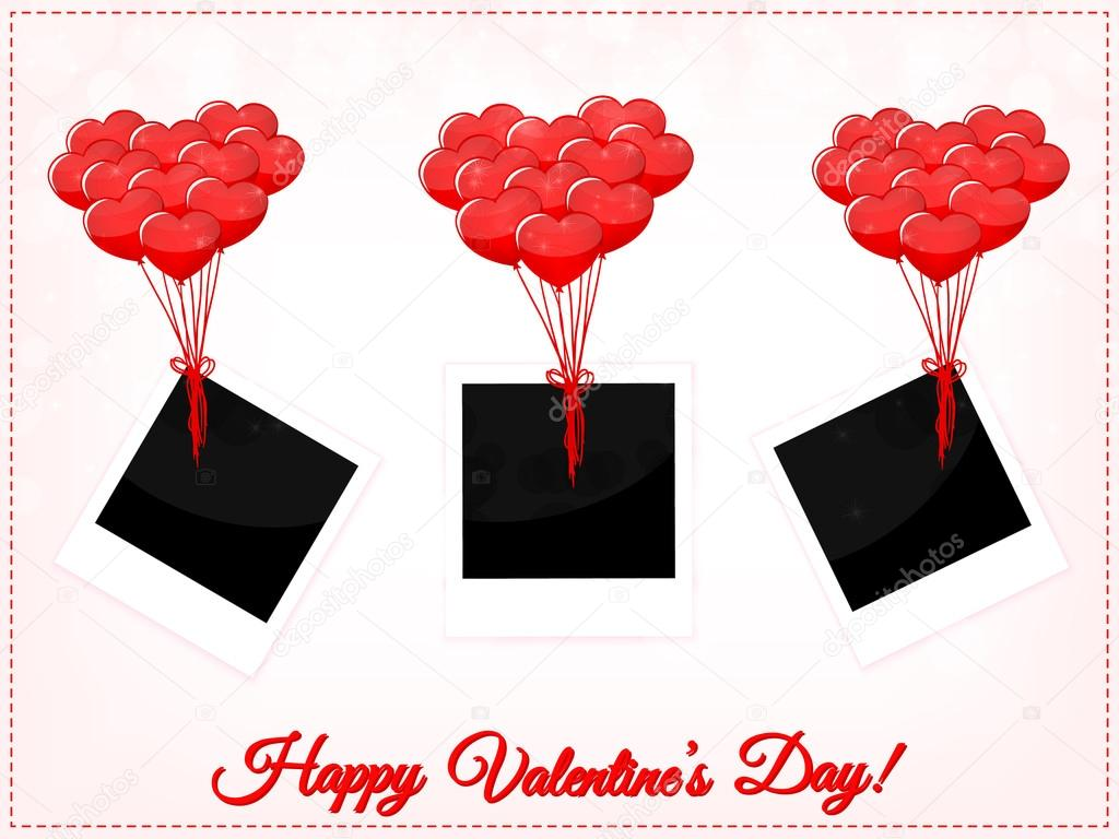 Valentines Day photo frames with balloons — Stock Vector © MarBom ...