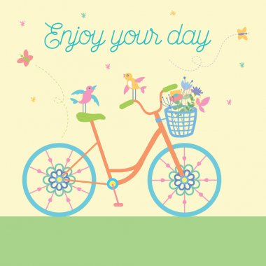 Cute colorful beautiful bicycle with flowers and birds and decorative wheels vector illustration