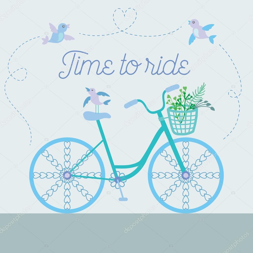 花と鳥と装飾的な車輪ベクトル イラストかわいいカラフルな美しい自転車