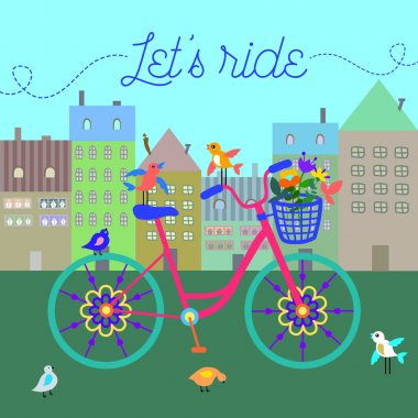 Cute colorful beautiful bicycle with flowers and birds and decorative wheels and city as background vector illustration