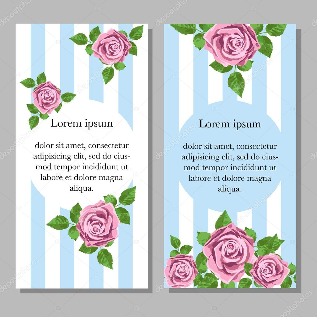 Wedding invitation card with pink realistic roses can be used as invitation card for wedding, birthday and other holiday and summer or spring background. Vector illustration.