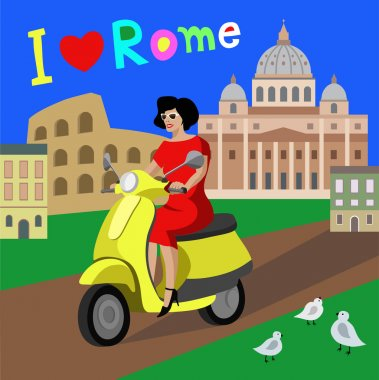 Beautiful woman riding scooter in the city Rome, Italy. Quote I love Rome. Vector illustration