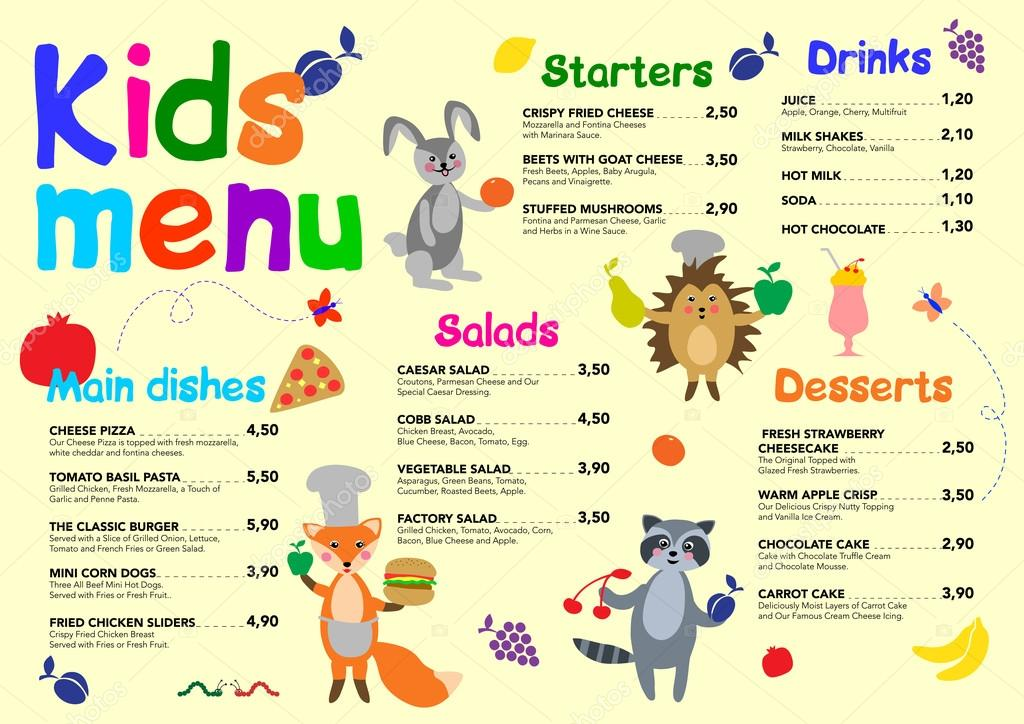 cute colorful meal kids menu template with cute forest animals