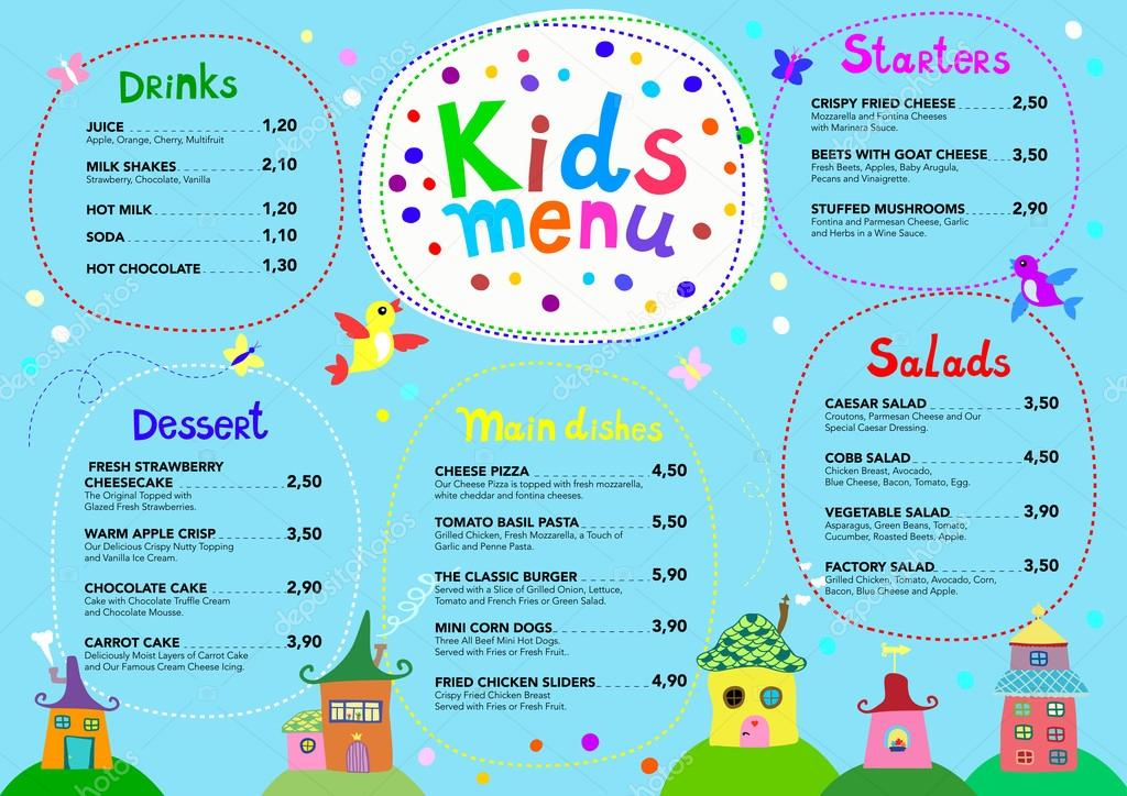 Cute colorful meal kids menu template with cute sweet houses — Stock ...