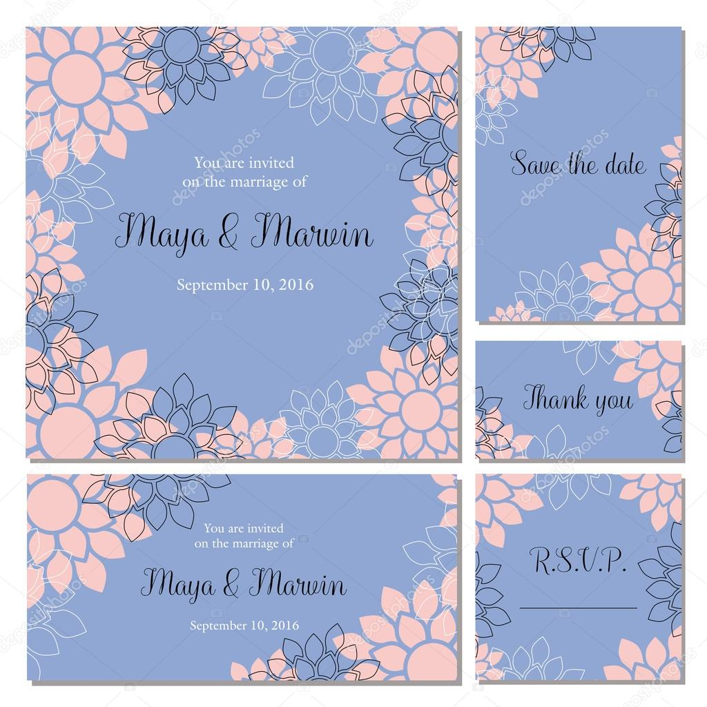 Wedding invitation cards set with floral background in trendy