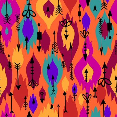 Tribal arrows boho seamless pattern. Ethnic geometric print. Background texture. Fabric, cloth design, wallpaper, wrapping