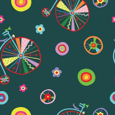 Cute colorful beautiful bicycles seamless pattern with decorative wheels