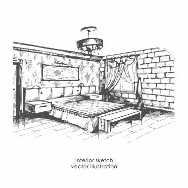 """Картина, постер, плакат, фотообои """"ручной рисунок интерьера. спальня домашнего дизайна, векторная иллюстрация зеркало раме настенное круглые прямоугольные настенные"""", артикул 111204782"""