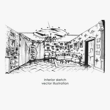 Hand drawn interior sketch. Home design livingroom, vector illustration