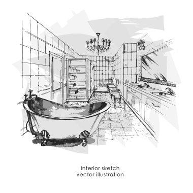 Hand drawn interior sketch. Home design bathgroom, vector illustration
