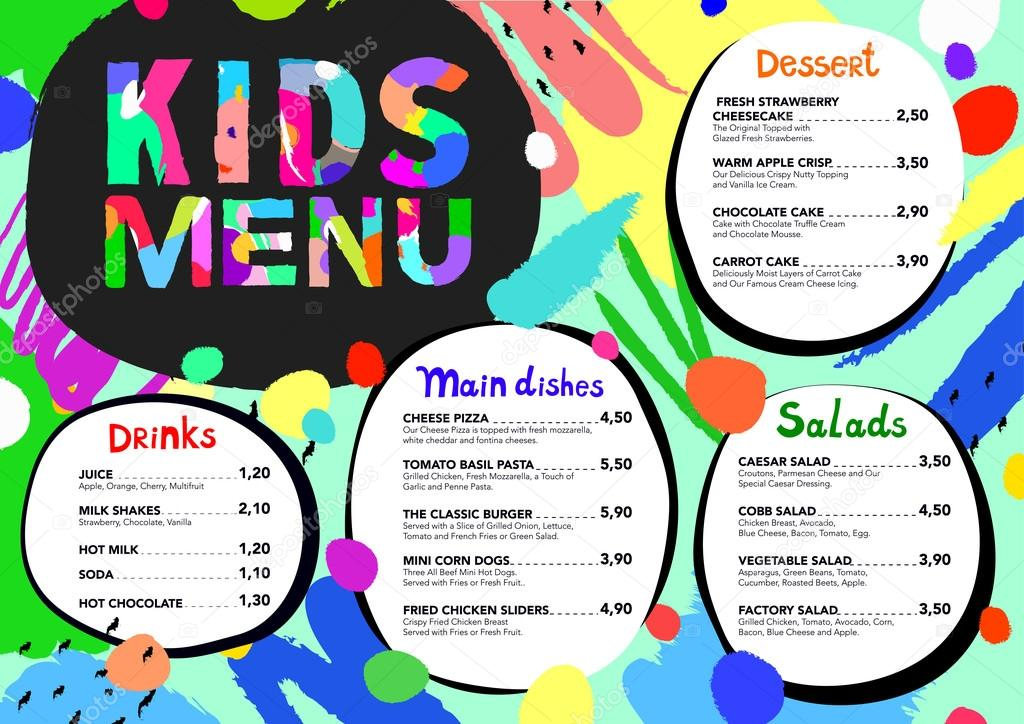 cute colorful meal kids menu template with brush strokes and