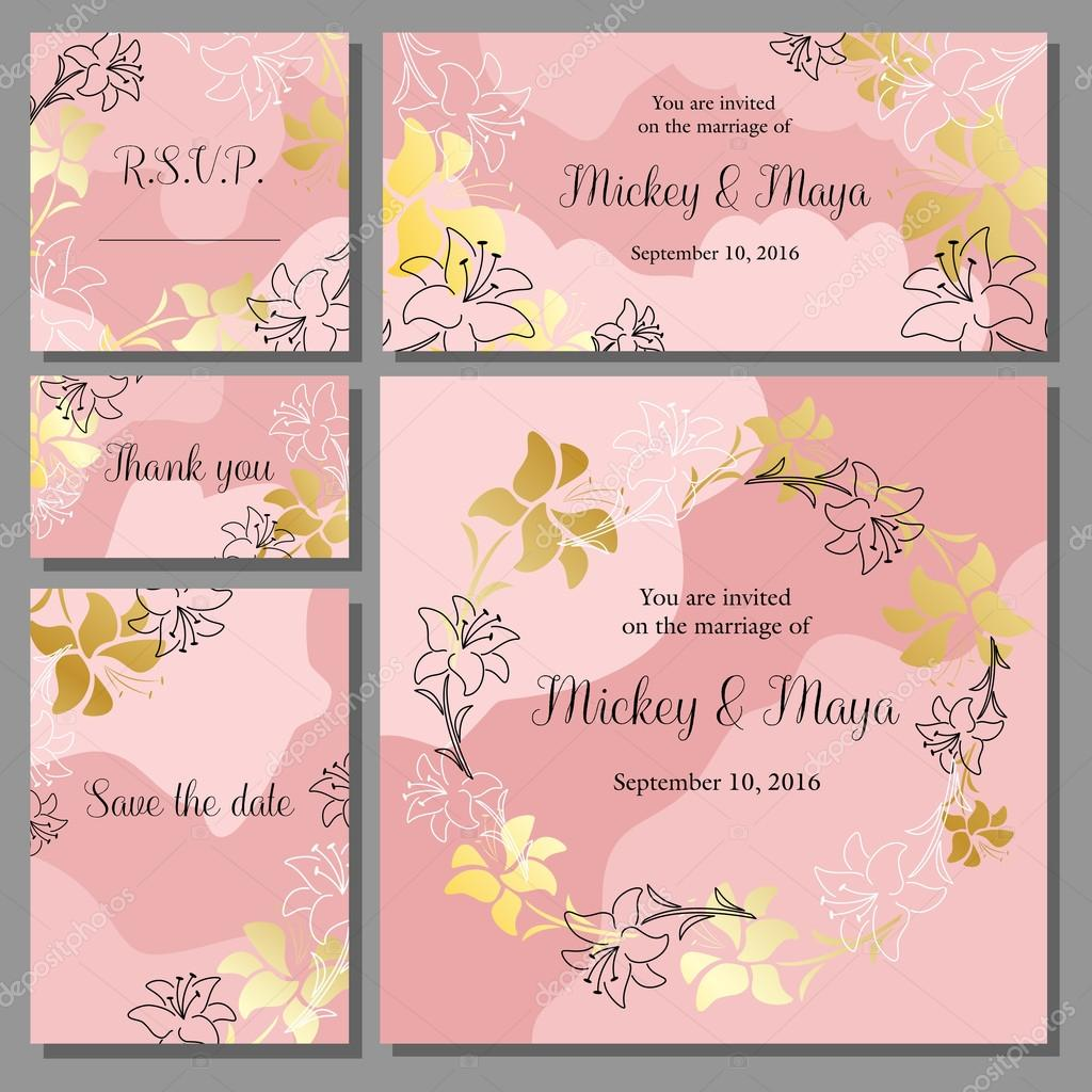 Wedding invitation cards set with golden floral background wedding invitation cards set with golden floral background template greeting card vetor de dinaraenamelail stopboris Gallery