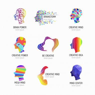 Creative mind, learning and design icons. Man head, people symbols. Vector illustration