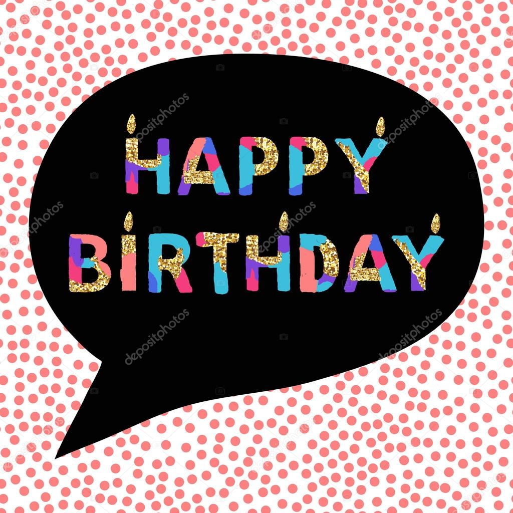 Happy Birthday Card With Artistic Unique Font Golden Glitter Texture Vector Illustration Stockillustration