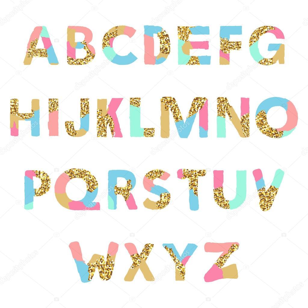 Alphabet Artistique alphabet artistique avec texture de paillettes dorées. police de