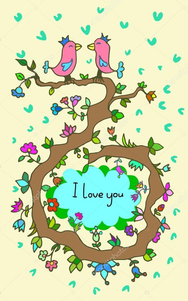 Ilustración de vector romántica con la pareja en el amor y marco ...