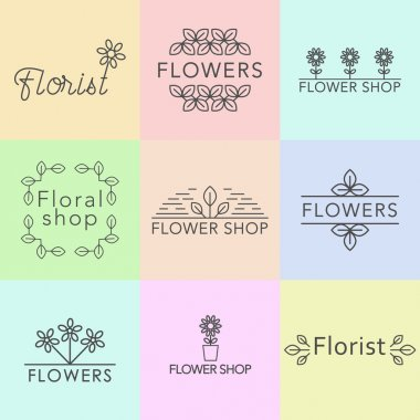 Outline vector set of logo design templates, and signs for identity, business cards and packaging - floral shops, beauty and spa studios