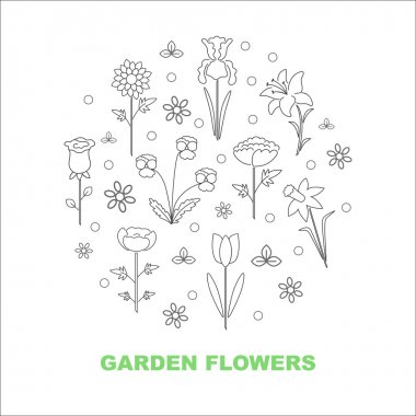 Modern vector line icons with different kind of garden flowers. Logo, badge, sign, label