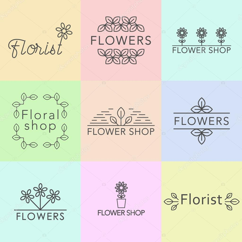 Outline Vector Set Of Logo Design Templates, And Signs For