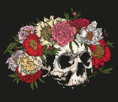 Vector illustration. Hand drawing on a graphic tablet.Human skull wearing a wreath of peonies on a black background. stock vector