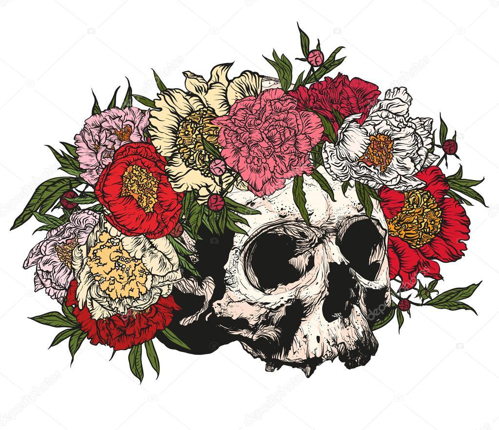 Dibujos Calavera Con Flores Dibujo Calavera Con Una Corona De