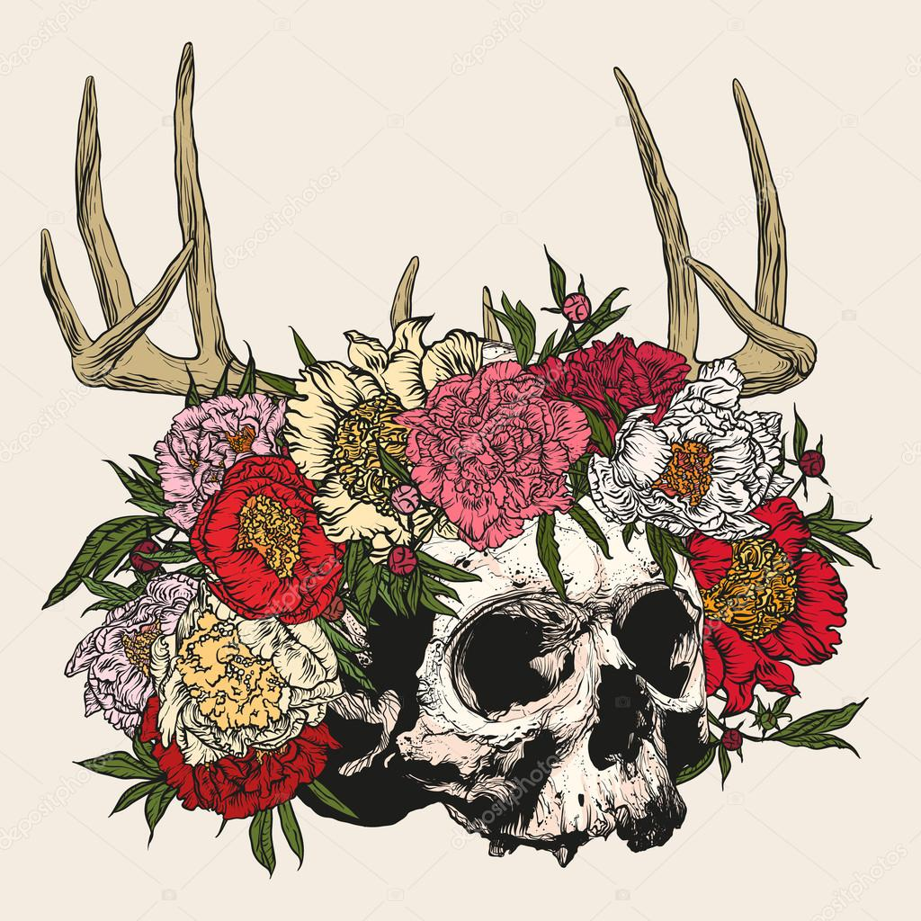 Skull wearing a wreath of peonies with antlers.