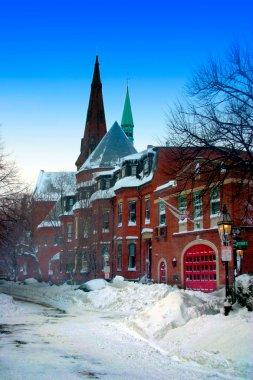 Snow scene at Beacon Hill, Boston after blizzard