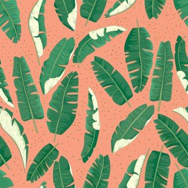 Banana leaves seamless pattern.