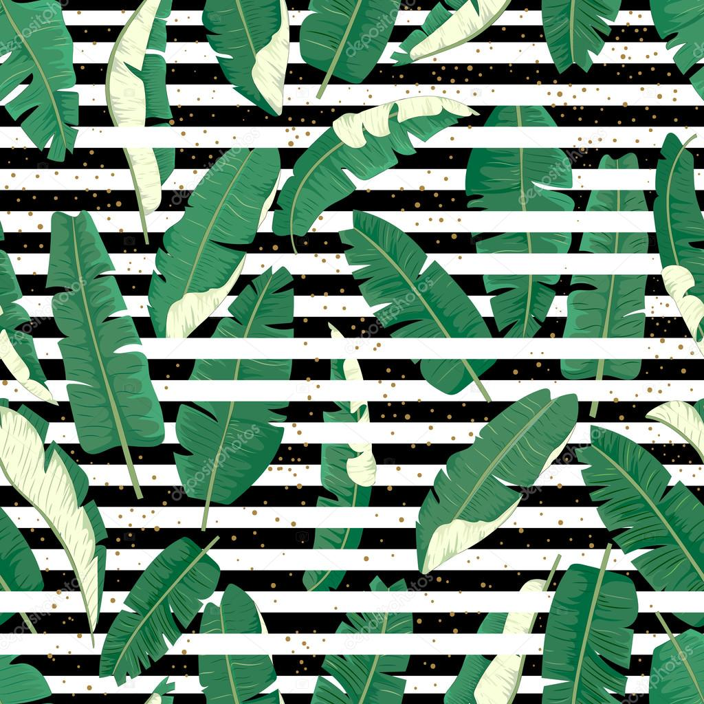 Banana leaves seamless pattern.