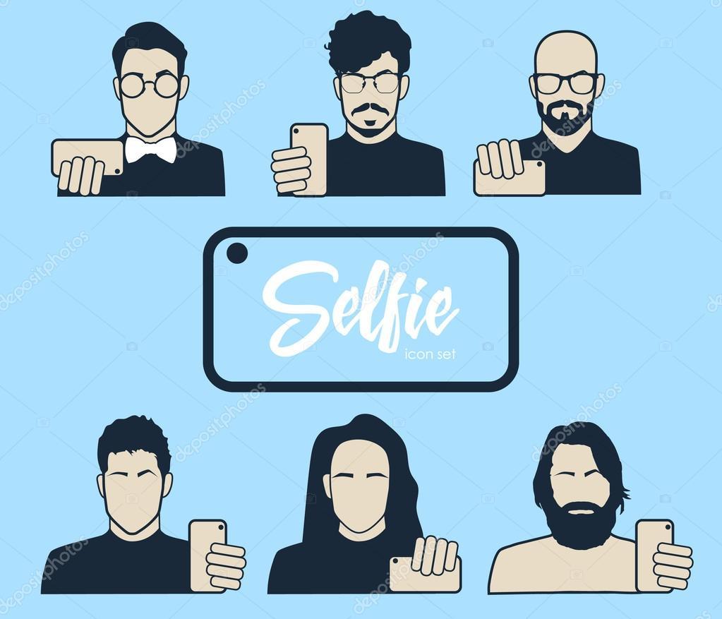 Se Frisuren Zum Selber Machen   Jungs Unter Selbst Foto Icons Set Hipster Tun Selfie Schnurrbart