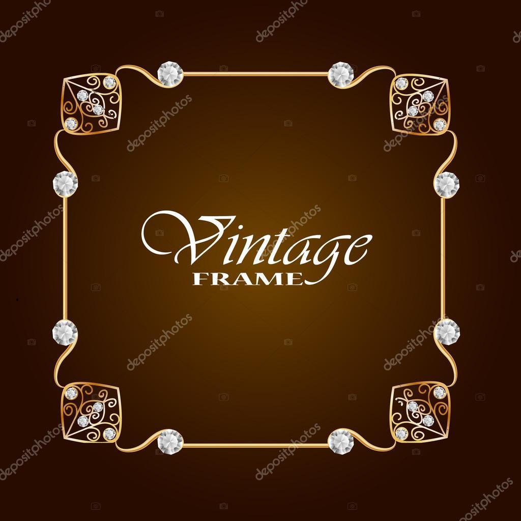 Gold frame with diamond vintage frame round frame with flowers gold frame with diamond vintage frame round frame with flowers jewelry frame vector frame stopboris Choice Image