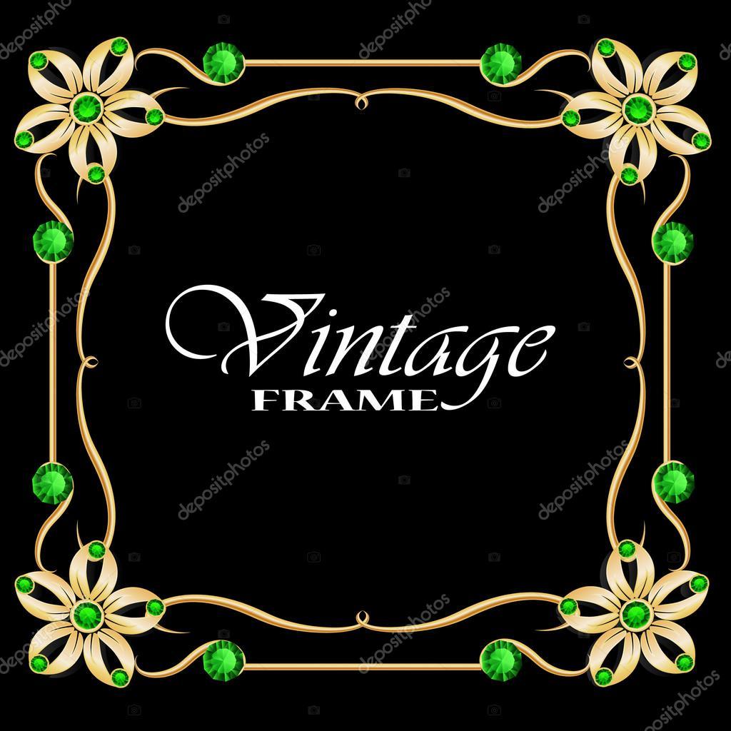 Goldrahmen mit Diamanten. Vintage-Rahmen. Runder Rahmen mit Blumen ...