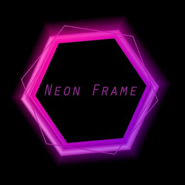 Neon frame. Neon light. Vector electric frame. Vintage frame. Retro neon lamp. Space for text. Glowing neon background. Abstract electric background. Neon sign.