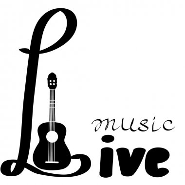 Live Music vector poster template. Hand draw letters. Poster with blank space for your text advertising message.