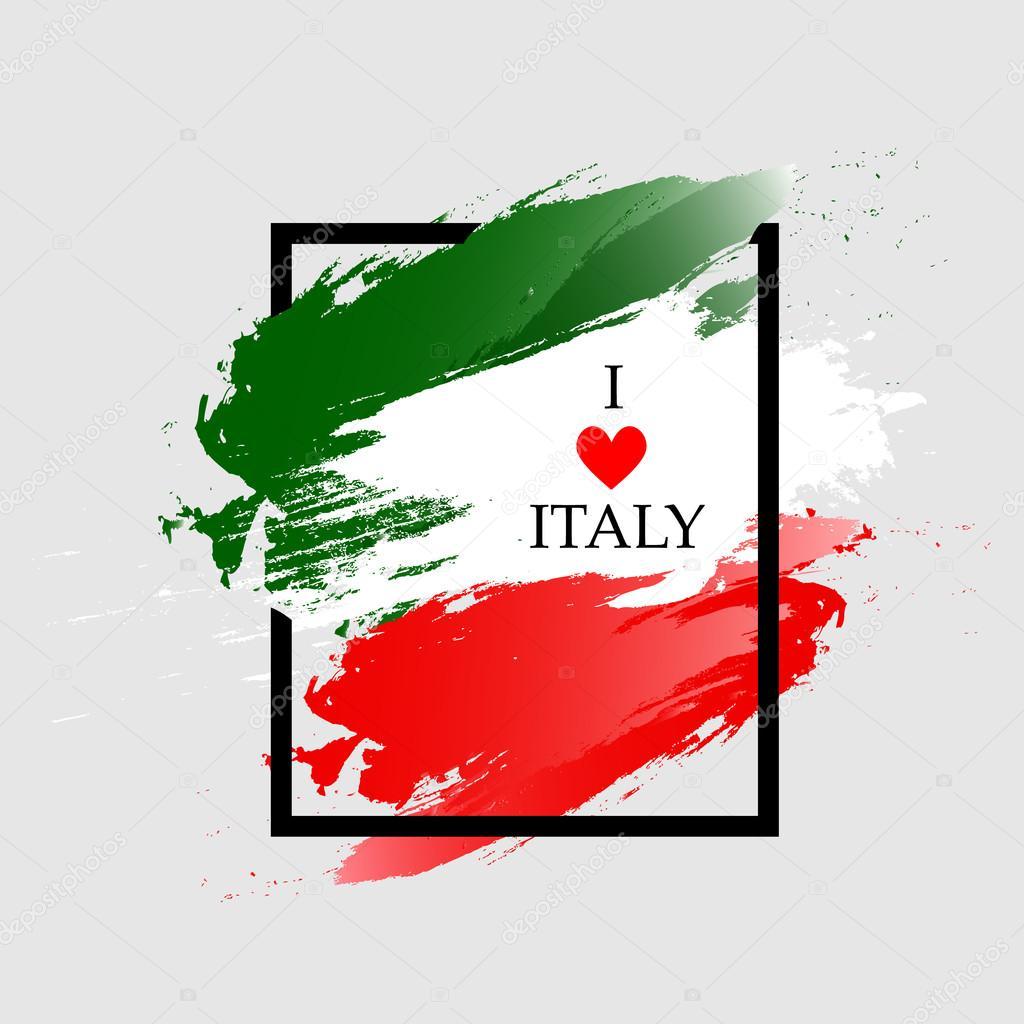 Italien-Grunge-Flag. Farbe Rahmen mit Spruch ich liebe Italien ...