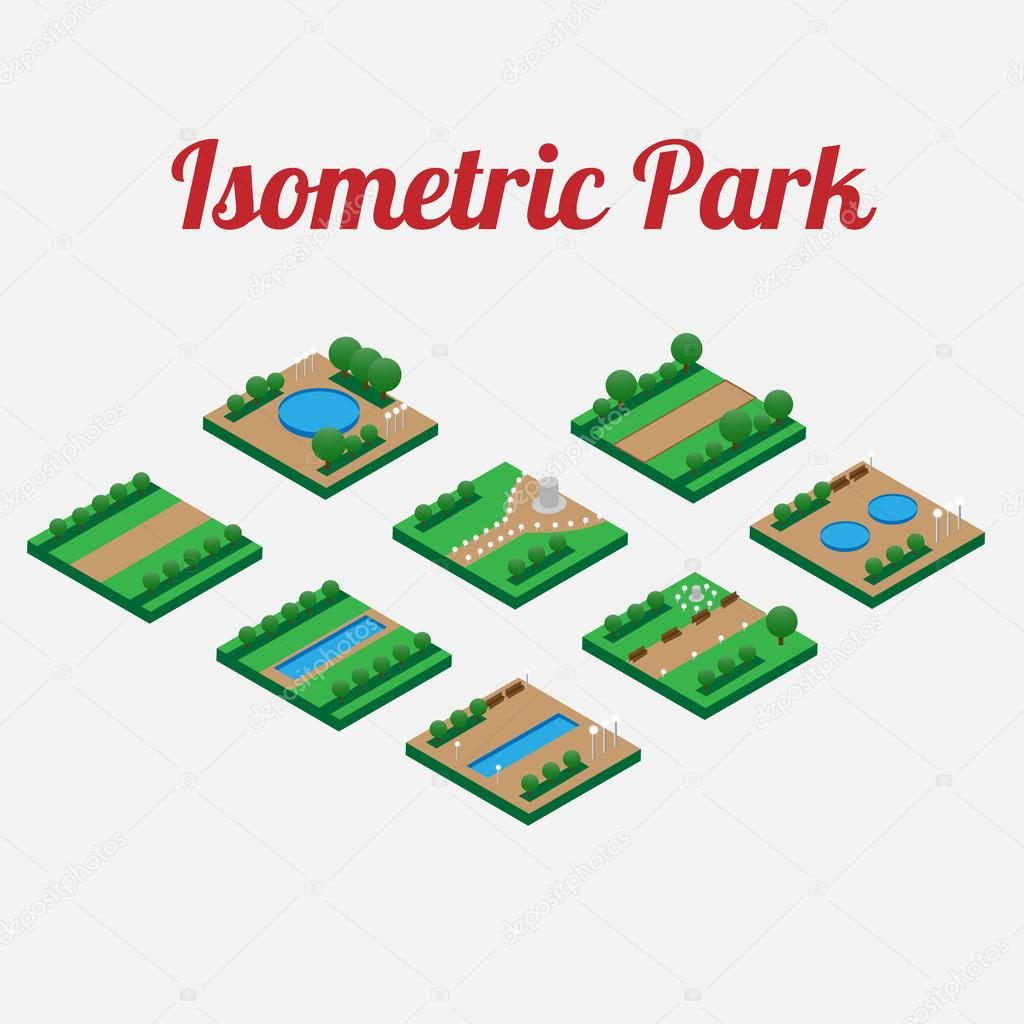 City park furniture with with alleys and pool. City map elements isometry. Isometric infographic. Vector illustration