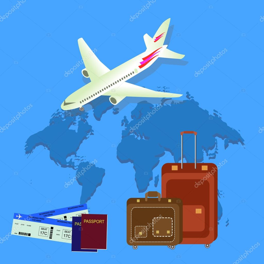 Travel isometric composition travel and tourism background world travel isometric composition travel and tourism background world travel banner background with aircraft map passport and bags flat design gumiabroncs Image collections