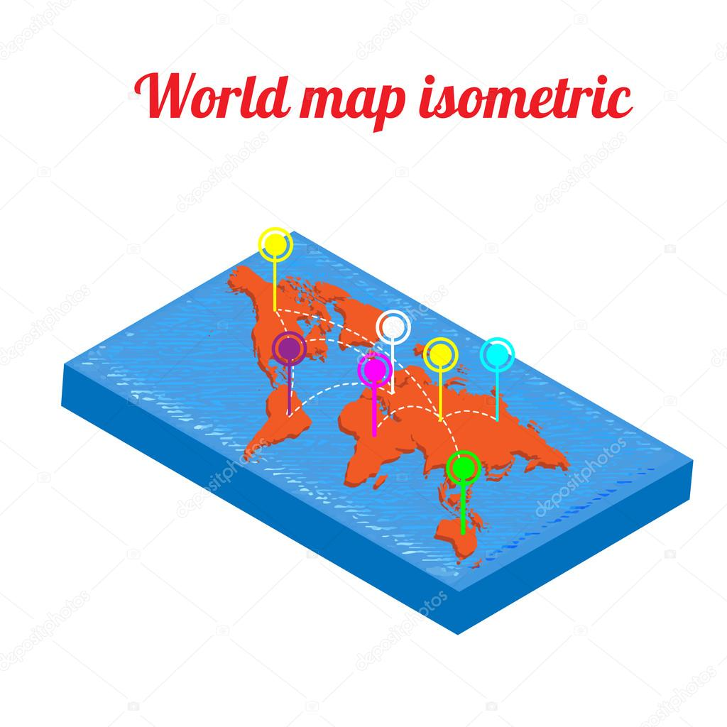 World Map Isometric Object Icon Infographic Clean